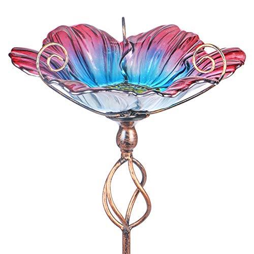 Comedero Mumtop Para Pajaros De Cristal Flor Degrade+ Estaca