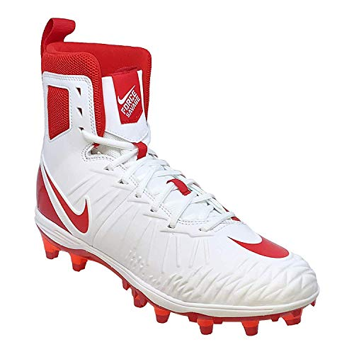 Nike Mens Force Savage Varsity Football Cleats (8, White/University Red)