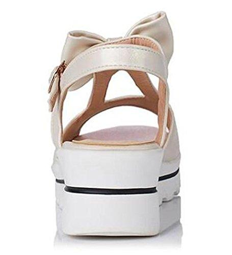 Easemax Womens Sweet Platform Mid Wedge Heels Sandals With Bows Beige lekqaiiQ