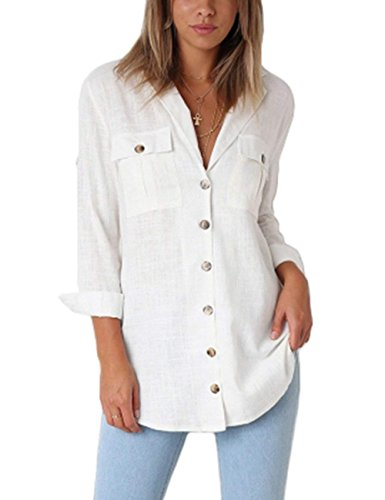 MIDOSOO Womens V Neck Button Down Plaid Long Sleeve Turn Down Collar Blouse Top Front Pockets White (Cotton Solid V-neck Short)