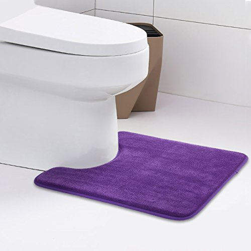 ITSOFT Microfiber Memory Foam Coral Velvet Soft Absorbent Toilet Contour Bathroom Rugs with Anti-Skid Bottom, Machine Washable, 19 X 24 Inch U-Shaped Royal Lilac