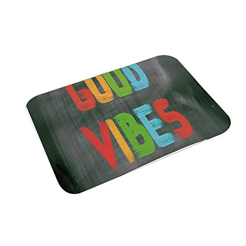 YOLIYANA Good Vibes Multi Function Floor Mat,Colorful Chalk Writing on Blackboard Image Positivity Optimism and Happiness for Bedroom Bathroom,23