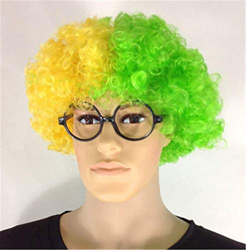 Lovely Funny World Cup Fans Flag Colors Synthetic Hair Souvenirs Wigs Hallowmas Cosplay Masquerade Role Play Clown Costume Party Accessories with Free Wig Cap (Brazil)