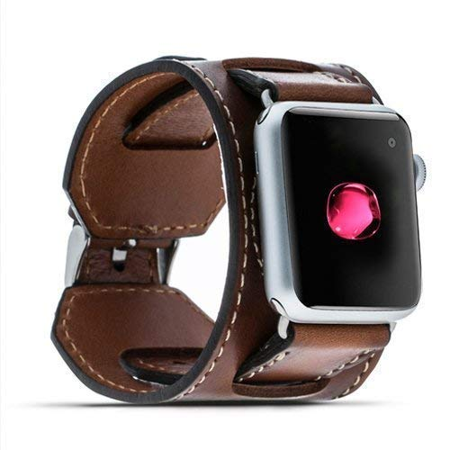 Apple Watch Band for 38mm 42mm, Cuff iWatch Leather Band, Full Grain Leather Apple Watch Strap, iWatch Band for Series 3, Series 2, Series 1, Full Grain Leather Band (Cuff Grain)