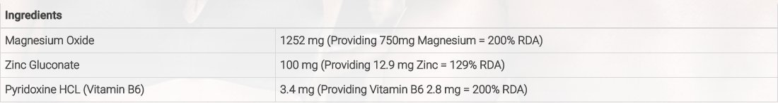 ZMA de Probulus: Mix de MAGNESIO, ZINC Y VITAMINA B6. Reduce del tiempo de recuperación después del entrenamiento, previene de calambres, aumenta la fuerza.