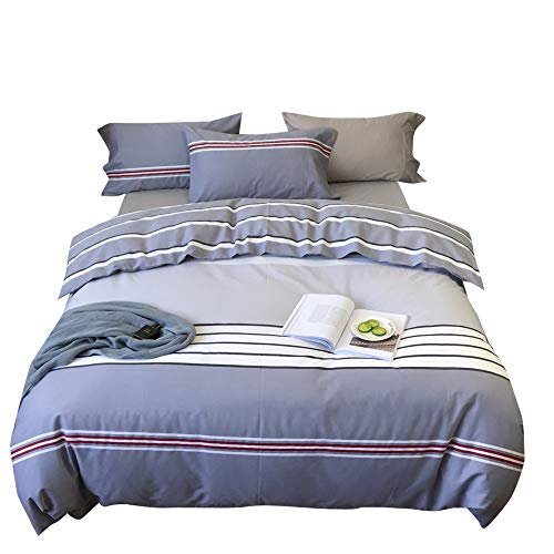 OTOB Striped Queen Bed Duvet Cover Sets Multi Color Gray 3 Piece Bedding Set for Boys Kids Teen Men with 2 Pillow Shams Queen/Full
