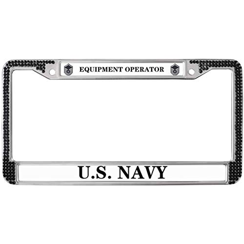 GND Equipment Operator Auto License Plate Frame,United States Navy Bling License Plate Frame Black Equipment Operator Rhinestone Metal License Plate Frame with Screw caps