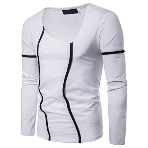 Sunhusing Men's Long Sleeve T-Shirt Lines Outlined Solid Color Casual Work Shirt ()