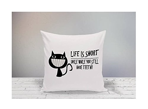 Life Is Short Smile While You Still Have Teeth Pillowcase, Decorative Pillowcase, Funny Cat Square Pillow Cover, Funny Pillow Cover, Black Cat Decor, - For Gift Dummies Wrapping