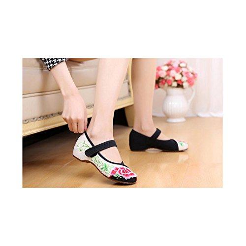 Balletto Ballerina Mocassino Ballerine Cotone Scarpe Cinesi Mufurong Nero Ricamati D'epoca Jane Mary Floreali Donna qzwv1