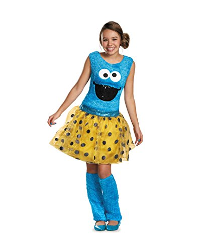 Disguise Sesame Street Cookie Tween Deluxe Costume, (Cookie Monster Girl Costumes)