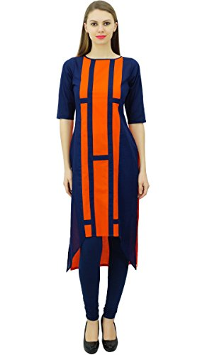 Casual Kurti Coton Tunique Asymtrique Hem Kurta Designer Bleu Marine Orange Porter Phagun Indien et Womens qwCT8T