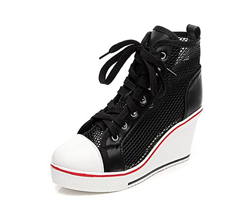 Unisex Casual High-Top Skate Shoes, Comfortable and Durable(Black 35/4.5 B(M) US Women)