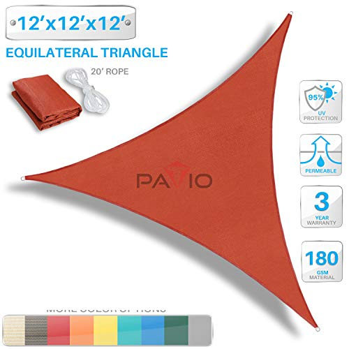 Patio Paradise 12' x 12' x 12' Red Sun Shade Sail Triangle Canopy, 180 GSM Permeable Canopy Pergolas Top Cover, Permeable UV Block Fabric Durable Outdoor, Customized Available