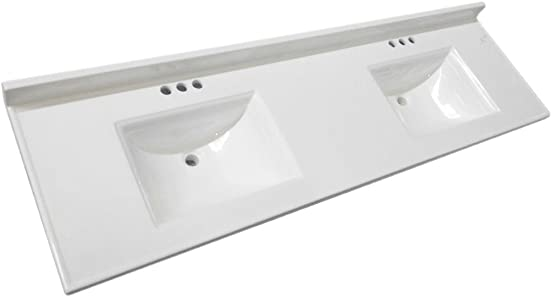 Design House 563510 CULTURED MARBLE VANITY TOP, 73 x 22, Solid White