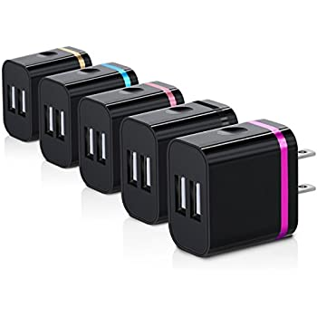 Wall Charger, Canjoy 5 Pack Universal Dual USB Ports Power Portable Adapter with 2.0A/10W Plug Outlet for iPhone 7/ 6S /Plus,iPad,Samsung Galaxy, Motorola, HTC, Other Smartphones(Family Pack)