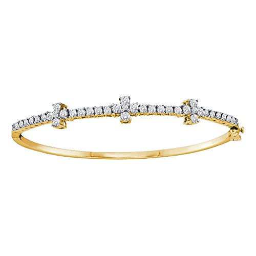 - Roy Rose Jewelry 14K Yellow Gold Womens Round Diamond Pave-set Bangle Bracelet 1-1/2-Carat tw