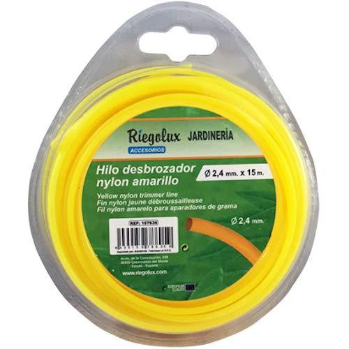Amarillo 2.4 mm x 15 m Riegolux 107636 Hilo Desbrozadora Nylon Redonda