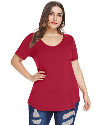 MONNURO Womens Plus Size Shirts Casual V Neck Short Sleeve Tunic Top with Pocket(Wine Red,5X)