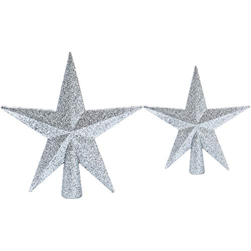 (Aneco 2 Pack Glittered Christmas Tree Topper Star Treetop for Christmas Tree Decoration or Home Decor, Hard Plastic, 2 Size)