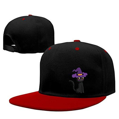 ShenigonHalloween Black Cat Flat Visor Baseball Cap, Fashion Snapback Hat Red