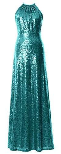 MACloth Women Halter Sequin Long Bridesmaid Dress Wedding Party Formal Gown Teal