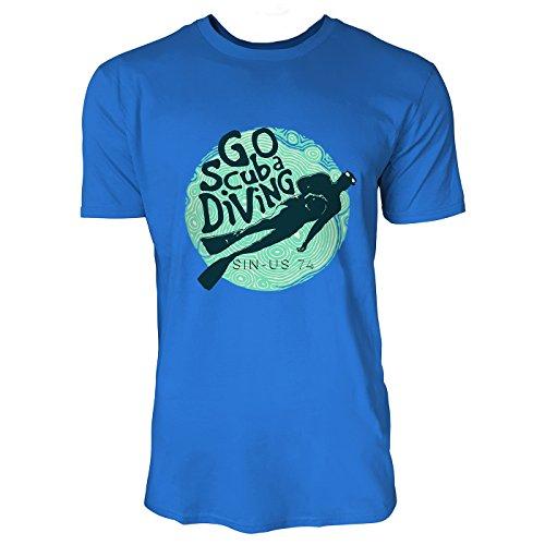 SINUS ART® Taucher mit Aufschrift Go Scuba Diving Herren T-Shirts in Blau Fun Shirt mit tollen Aufdruck