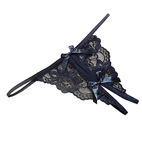 f85c665f709 Amazon.com  New Women Open Fork Transparency Lace Tanga Bowknot Featured Strappy  Sexy Panties Lingerie (Black)  Home Improvement