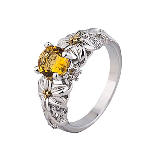 Fxbar Fashion Floral Crystal Rings Simple Yellow Cubic Zirconia Wedding Rings for Women Sun Flower Band Jewelry (A,6#)