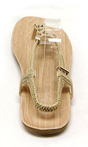 Forever Calista-84 Dames Gouden Bal En Hart Decor T-strap Elastisch Enkelbandje String Sandalen Goud 7.5