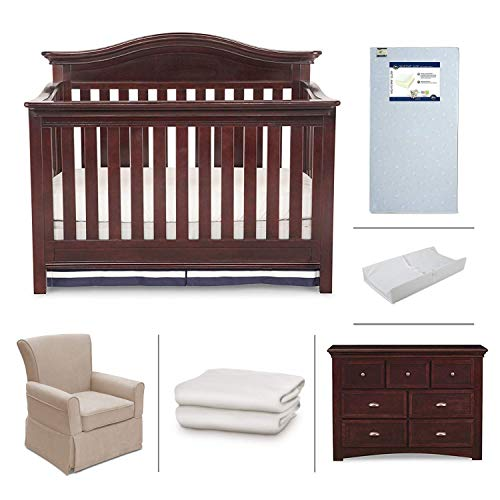 Nursery Furniture Set with Convertible Crib, Crib Mattress, Glider, Dresser, Changing Pad and Sheets by Simmons Kids - 6-Piece Augusta Collection in Molasses Brown