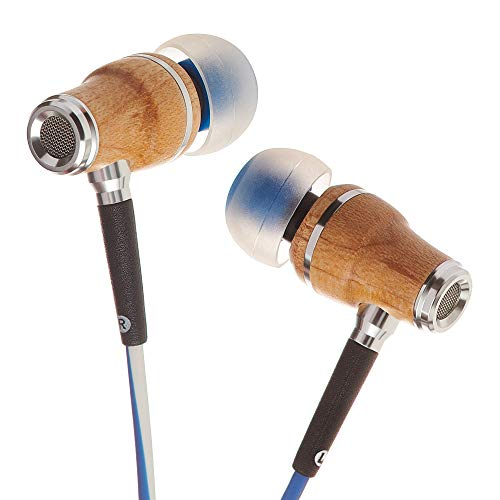 Symphonized NRG X Premium Genuine Maple Wood Earbuds, in-Ear Noise-Isolating Headphones, Earphones with Angle-Fit Ear Tips, in-line Microphone and Volume Control, Stereo Earphones (Blue & White)