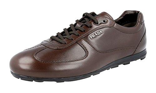 Prada Men's 4E2020 ORX F0003 Brown Leather Sneaker EU 8 (42) / US 9