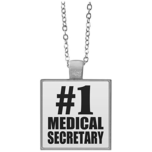 Designsify Number One #1 Medical Secretary - Square Necklace, Silver Plated Pendant, Best Gift for Birthday, Anniversary, Easter, Valentine's Mother's Father's - Secretary Pendant 1