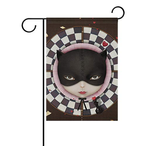 senya Double Sided Yard Garden Flag, The Girl's Face Cat Hom