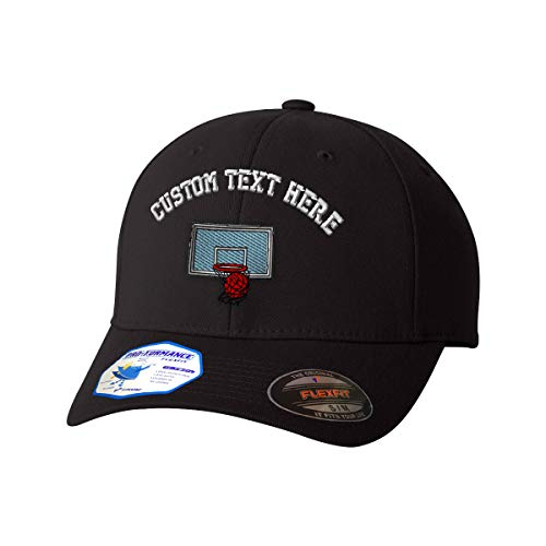 Custom Text Embroidered Sport Basketball Hoop Unisex Adult Elastic Polyester/Spandex Flexfit Pro-Formance Hat Baseball Cap - Black, Small/Medium - Medium Cap Hoop