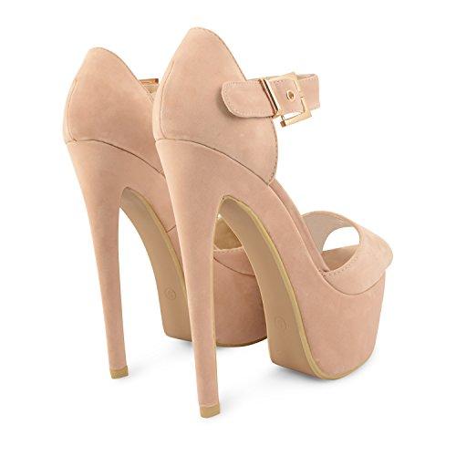 Para mujer diseño de Leigh Ann Tennant con plataforma ajustados Stiletto de tacones de zapatos de traje de neopreno para mujer y pedrería para mujer de talla de Beige - beige