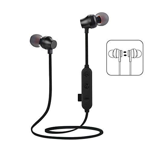 Price comparison product image Insaneness in-Ear Earphones Wireless Bluetooth TF MP3 Flash Memory Card SD Card 4.2 Stereo Sports Headphone (Black)