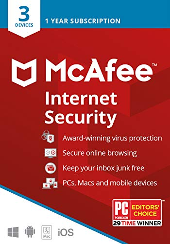 McAfee Internet Security 2020, 3 Device, Antivirus Software, 3 Device Password Protection, 1 Year – Key Card