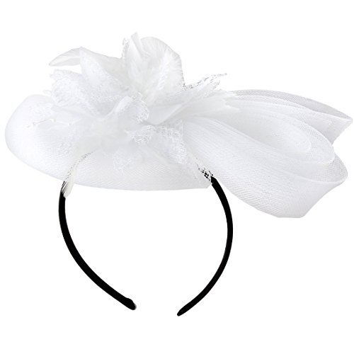 [Women's Fascinators Hat Small Hairpin Feather Mesh Flower Hairclip (White)] (White Top Hat Fascinator)