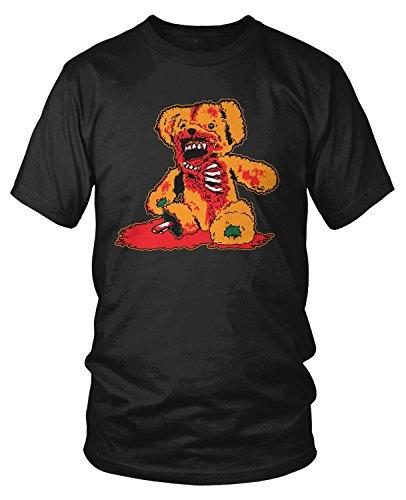 Amdesco Men's Zombie Teddy Bear, Evil Teddy, Halloween T-Shirt, Black 2XL ()