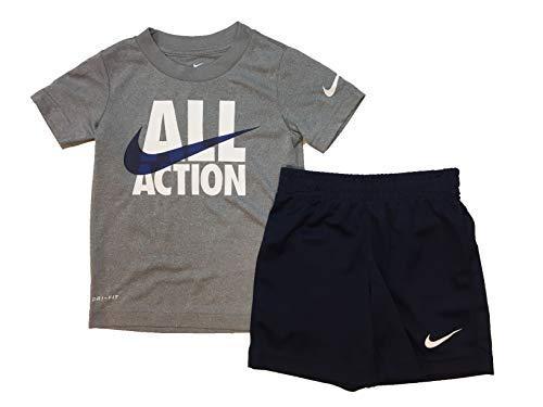Nike Boy`s Dri-Fit T-Shirt & Shorts 2 Piece Set (4, Obsidian(76f028-695)/White)