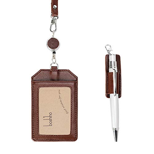 Office Badge Holder - Boshiho Genuine Leather Credit ID Card Holder with Stretch Neck Lanyard Vertical Style (Brown)