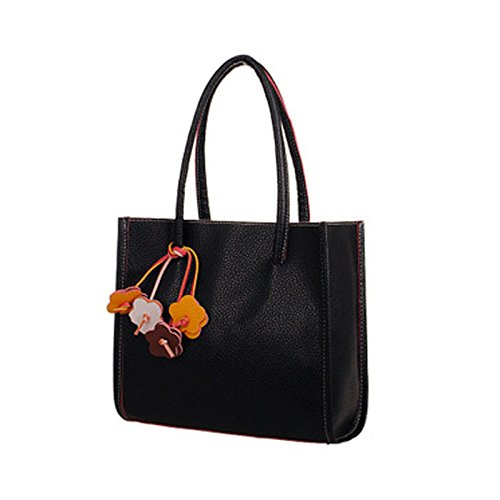 Fashion Handbags,Han Shi Women Girls PU Leather Flowers Candy Color Totes Shoulder Bag (Black, - Womens Wearhouse