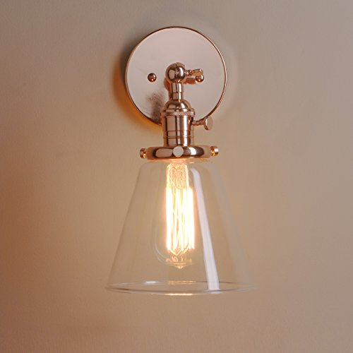 Permo Industrial Wall Sconce Lighting with On/Off Switch Funnel Flared Clear Glass Hand Blown Shade (Copper) - Copper Wall Lamp