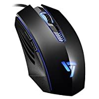 VicTsing Gaming Wired Mouse, High Up to 3200 DPI, 4 Changeable Breathing Light, 4 Adjustable DPI Levels, 6 Buttons Design, Ergonomic Grips,Backlit Compatible with Windows7/8/10/XP, Linux-Black