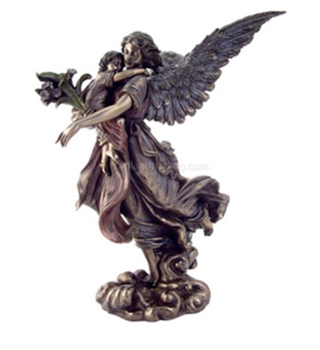 Guardian Angel Holding Child Statue H: 11 Inches - For the Angel in Your Life! (Wings Angel Saints)