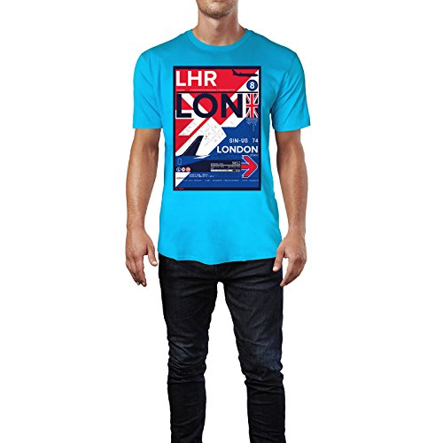 SINUS ART ® LHR London Heathrow Herren T-Shirts in Karibik blau Cooles Fun Shirt mit tollen Aufdruck