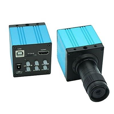 HD 1080P USB Digital Industry Video Inspection Microscope Camera HDMI Set TF Card Video Recorder & Mini 100X C-MOUNT Zoom Lens - Blue
