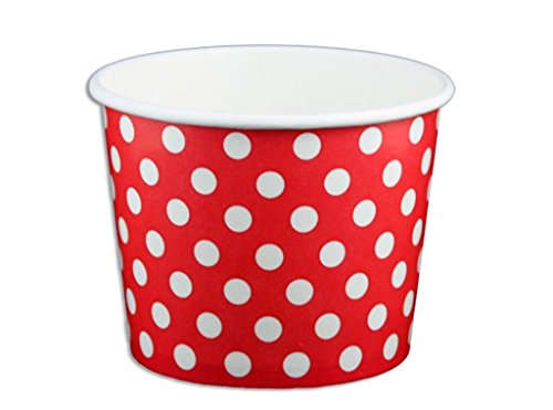 Black Cat Avenue Paper Ice Cream Cups, Polka Dot, Red, 12 Ounce, 50 Count